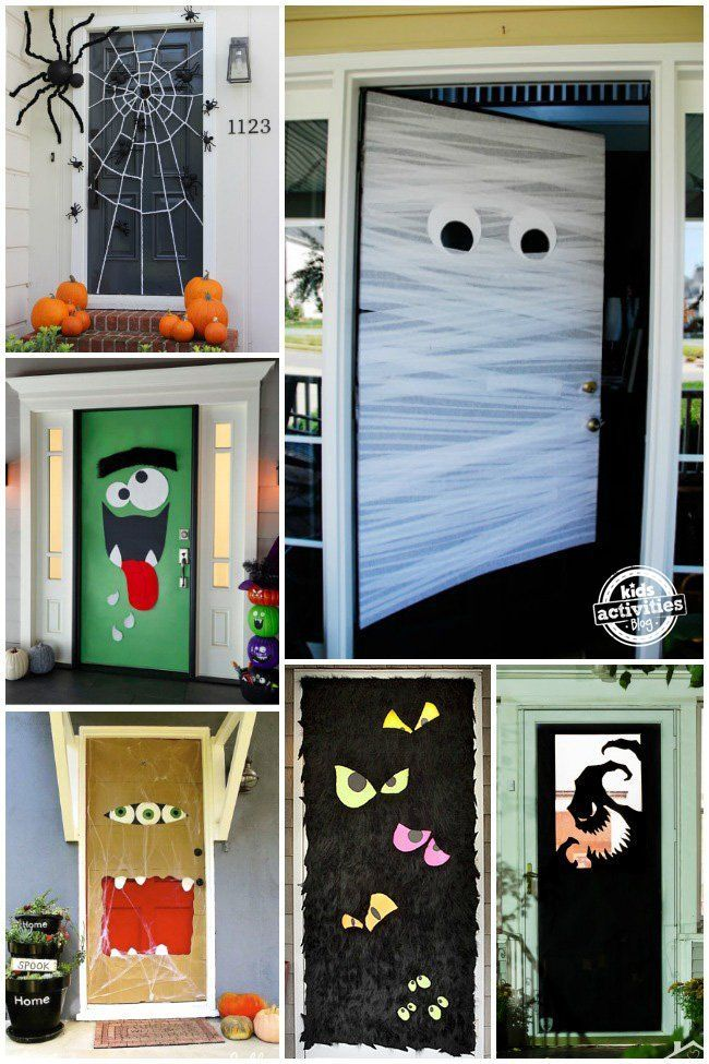 6 doors decorted for halloween - Halloween home Decor