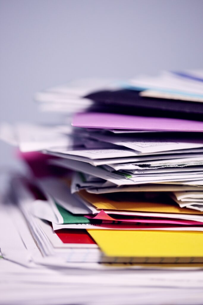 pile of colourful documents