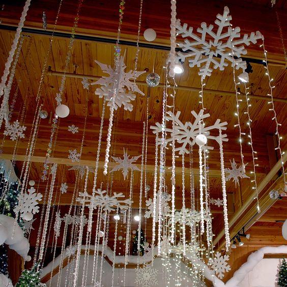 snowflake and crystal ceiling ornament display - Christmas decor inspiration
