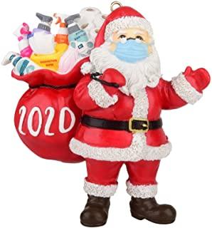 Santa Claus ornament with protective COVID mask -COVID inspired Mr. & Mrs. Santa Claus ornament