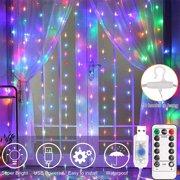 Multi-coloured curtain lights -Christmas Décor Inspiration